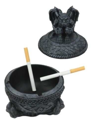 Medieval Dragon Claw Gripping Celtic Orb With Gothic Gargoyle Ashtray Statue