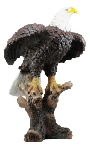"Large 21""H American Pride Bald Eagle Perching On Tree Stump Statue Patriotic Art"