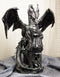 Dark Beacon Dragon Guardian of Styx Castle Gate Statue With Solar LED Light