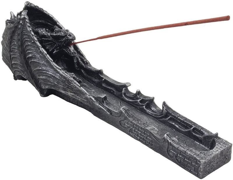 Faux Stone Gothic Attacking Dragon Breath of Fire Incense Holder Burner Figurine