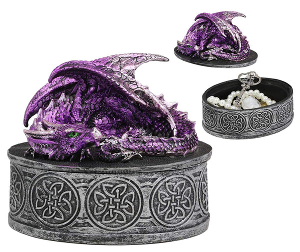 "Ebros Gift Sleeping Purple Dragon Decorative Oval Trinket Jewelry Box Figurine with Celtic Knotwork 5"" Wide Medieval Renaissance Winged Alchemy Magic Fantasy Dungeons Dragons Decorative Statue"