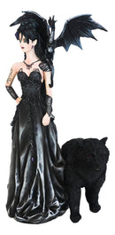 Gothic Bella Donna Purple Rose Witch Fairy with Black Dragon And Bear Statue