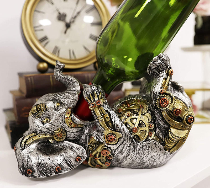 "Ebros Steampunk Elephant Wine Bottle Holder Figurine 9"" L with Painted Gearwork"