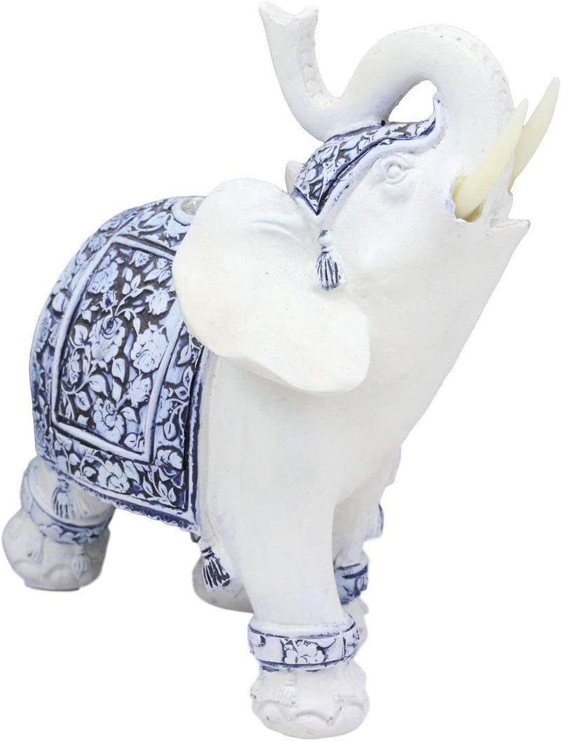 "Ebros Feng Shui Ming Style Blue and White Ornate Floral Design with Trunk Up Left Facing Elephant Statue 5.25"" High Vastu Zen Elephants Figurine Symbol of Wisdom Wealth Fortune"