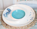 Nautical Blue White Seahorse Ceramic Chips Salsa Family Serving Platter Plate