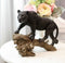 Ghost Hunter Black Panther Cougar On Weathered Tree Log Statue Jaguar Decor