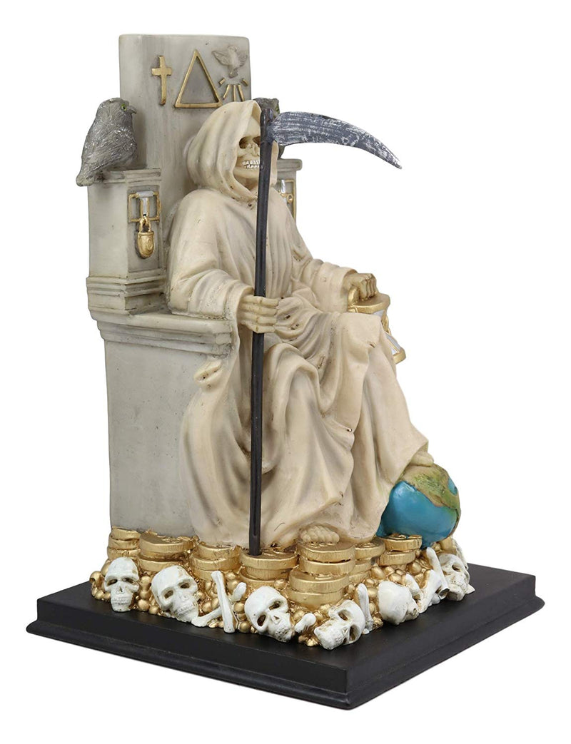 "Ebros White Robe Santa Muerte Holy Seated On Throne with Scythe Statue 10.5""H"