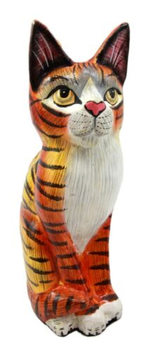 "Balinese Wood Handicrafts Adorable Orange Tabby Feline Cat Purr Pet Figurine 8""H"
