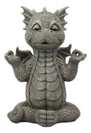 "Ebros Whimsical Inner Peace Garden Yoga Sutra Asana Meditating Dragon Statue 10"" Tall Faux Stone Resin Finish Decor Figurine"