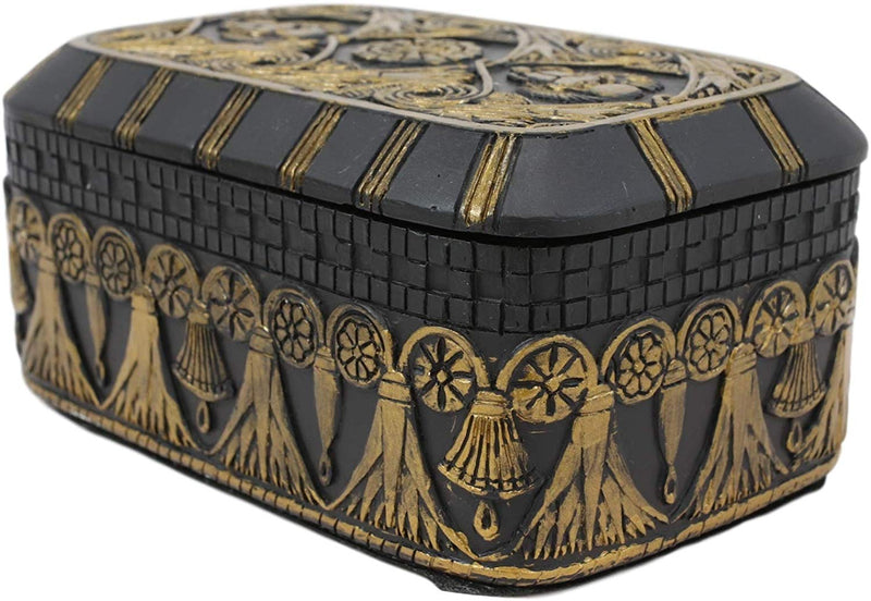 Ebros Black and Gold Cartouche Amulet Scarab Beetles Decorative Trinket Box