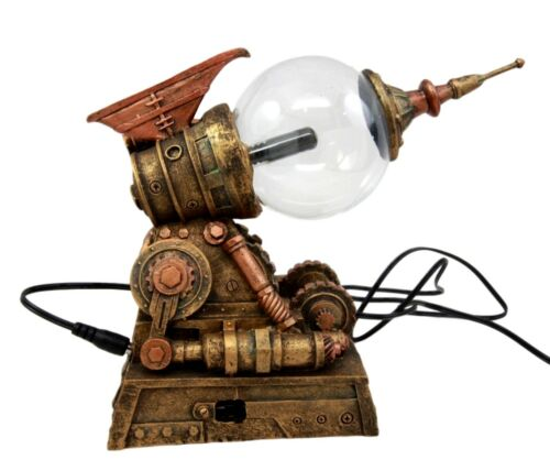 Steampunk Electric Plasma Static Storm Ball Blaster Gun Accent Lamp Figurine