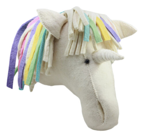 Ebros Fiona Walker England Handmade Organic Baby Animal Head Wall Decor The Originals Collection Large (Rainbow Unicorn Head)