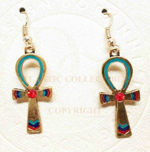 Ancient Egyptian Theme Ankh Pyramid Red Gem Stud Earrings Pair Accessory - Atlantic Collectibles