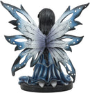 "Ebros Blue Celestial Witch Fairy Cradling A Mystical Black Cat Statue 8.25"" Tall"