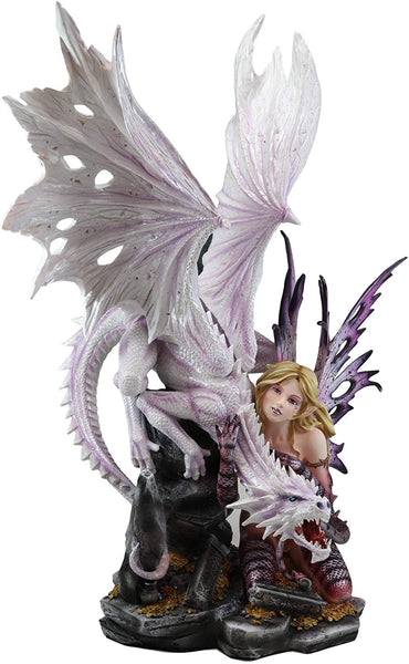 "Ebros Large 22.75"" Tall Gothic Red Reptile Fairy with Roaring White Dragon by Treasure Mound Statue Halloween Fairies Faerie Garden Fantasy Dungeons and Dragons Decor Figurine Ossuary Macabre Accent"