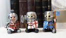 Chibi Templar Crusader Knights With Sword Axe Flag And Shield Figurine Set of 3