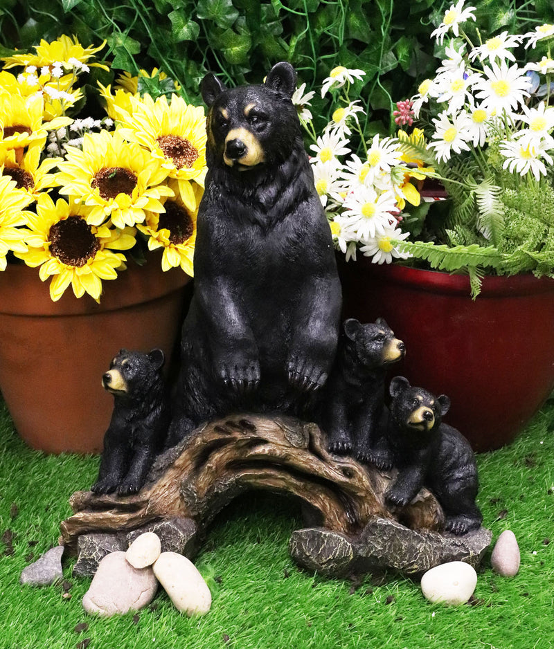 Large Rustic Forest Protective Mother Black Bear With 3 Cubs Statue Bears Decor