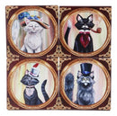 Aristocrat Fancy Cats Coasters For Drinks Set of 4 Ceramic Tiles With Cork Back