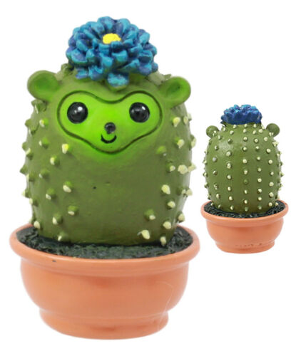 Pokey Cactus Hedgehog In A Pot Figurine Whimsical Fairy Garden Succulent Decor