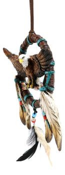 Majestic Bald Eagle With Open Wings Figurine Dream Catcher With Beaded Feathers
