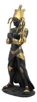 Egyptian God of The Dead Osiris Holding Crook and Flail Statue In Black And Gold