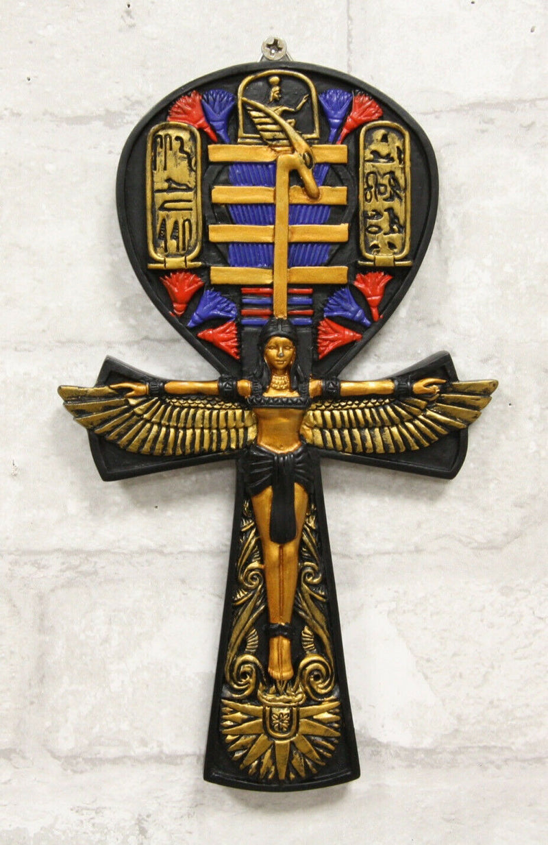 """Ebros Ancient EgyptianScarab With Dual Cobra Ankh Shaped Small Hand Mirror 8/""""H"""