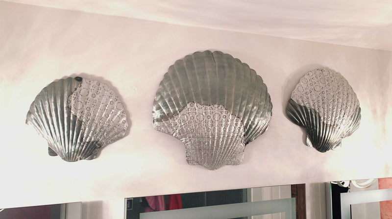 Ebros Sea Shell Clams 3 Piece Large To Small Size Aluminum Metal Wall Decor
