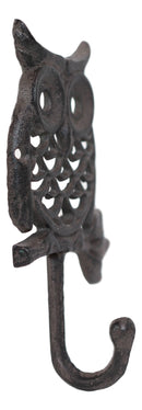Cast Iron Rustic Filigree Great Horned Owl On Twig Wall Coat Keys Hook Pack Of 2