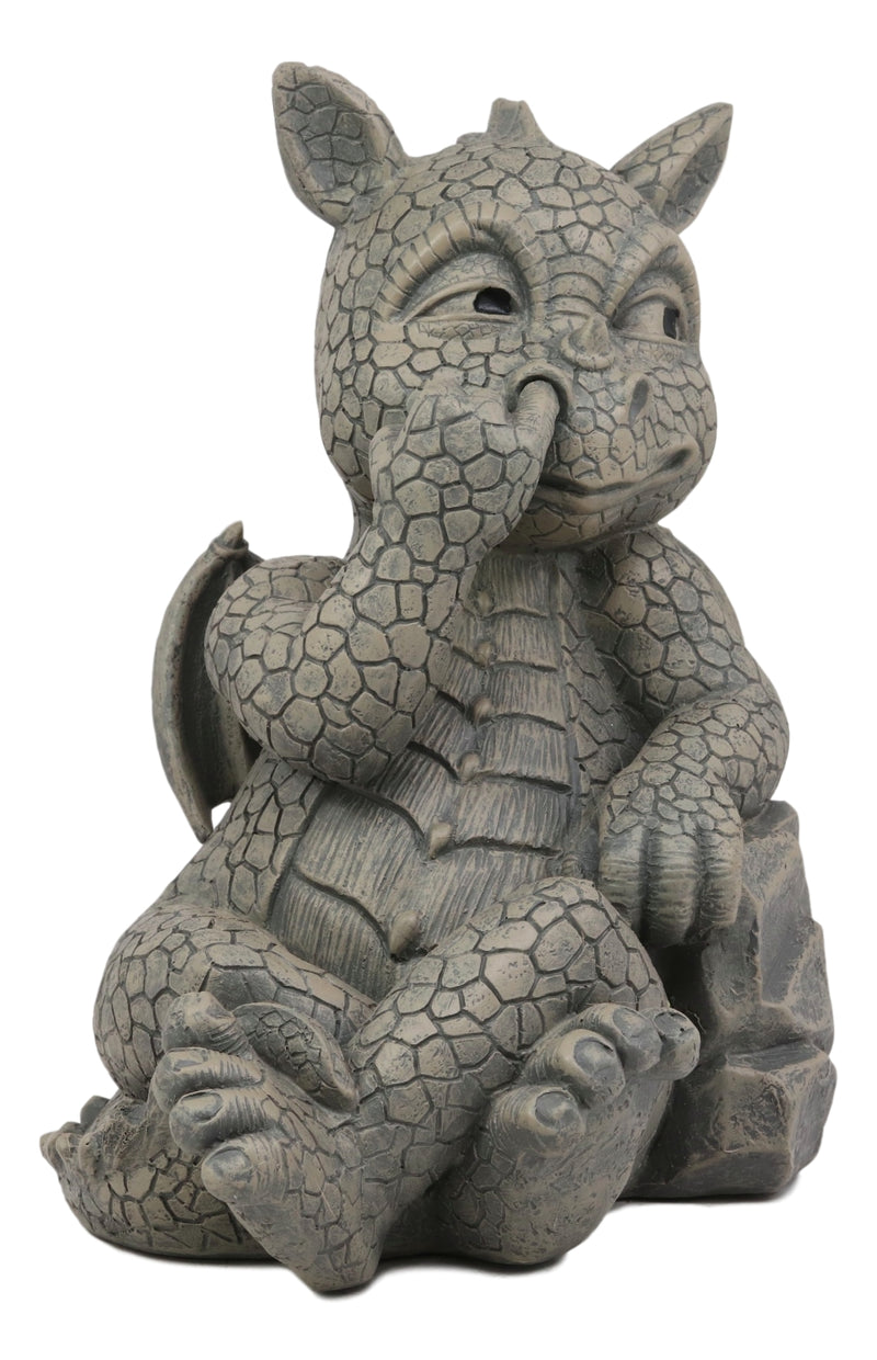 Ebros Whimsical Garden Dragon Picking Nose Treasure Hunt Statue Cute Baby Dragon Faux Stone Resin Finish Figurine Dungeons and Dragons Mythical Fantasy Sculpture Guest Greeter Home Decor