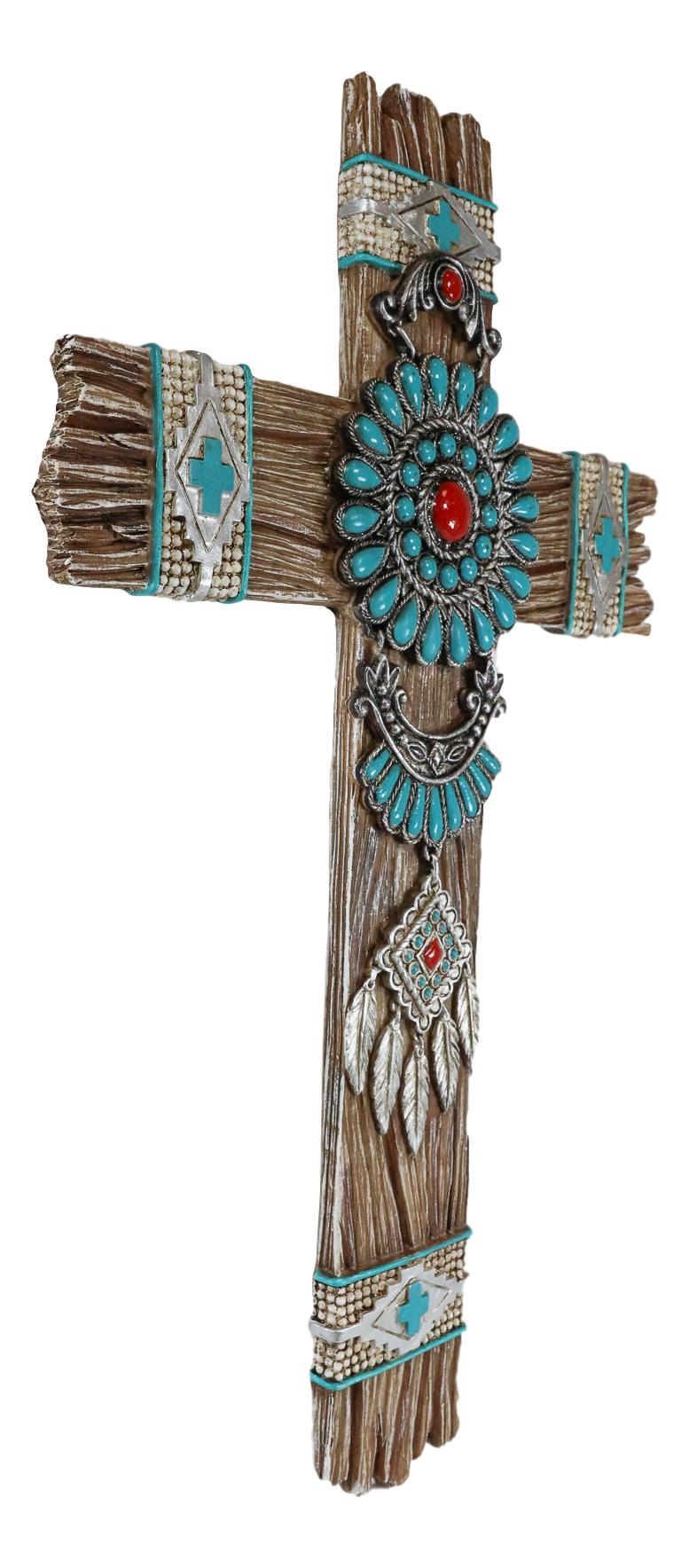Southwest Native Indian Navajo Vector Turquoise Beads Dreamcatcher Wall Cross