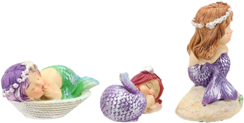 Ebros Whimsical Mergirls Mermaid Babies Small Miniature Figurines Set of 3