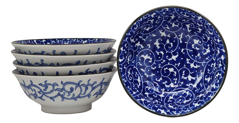 "Ebros Gift Blue And White Ming Dynasty Style Floral Vines Ceramic Bowls Pack Of 5 Made In Japan Ramen Pho Soup Bowl Set 32oz 8""Dia Asian Dining Restaurant Supply Grade Microwave Dishwasher Safe"
