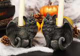 Ebros Gothic Angel Winged Catgoyle Cat Gargoyle Candle Holder Statue Medieval Renaissance Notre Dame Fantasy Gargoyles Angelic Feline Cats Sculpture Halloween Home Decor (Left and Right Facing Pair)