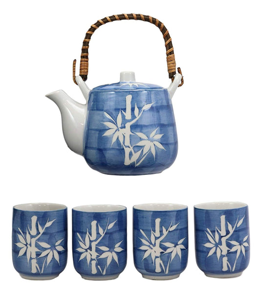 Ebros Gift China Winter White Lucky Bamboo Design Porcelain Soothing Blue Color 20oz Tea Pot and 4 Cups Set Home Decor Asian Living Teapots Teacups Decorative Party Hosting