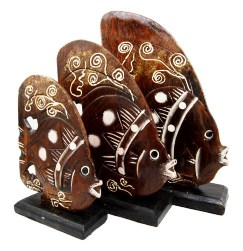 Balinese Wood Handicrafts Tropical River Angel Fish Family Set of 3 Figurines