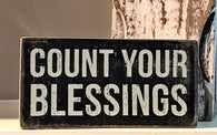 Count your blessings wood box sign