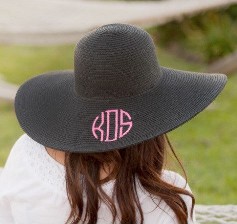 Black Adult Floppy  Straw Hat
