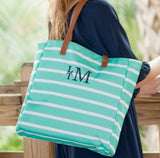 Mint Stripe Tote Bag