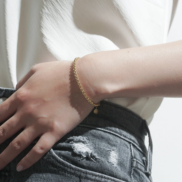 Thick Rolo Bracelet - Gold