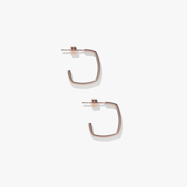 Earrings - Shapeshift Square Hoops - Rose Gold
