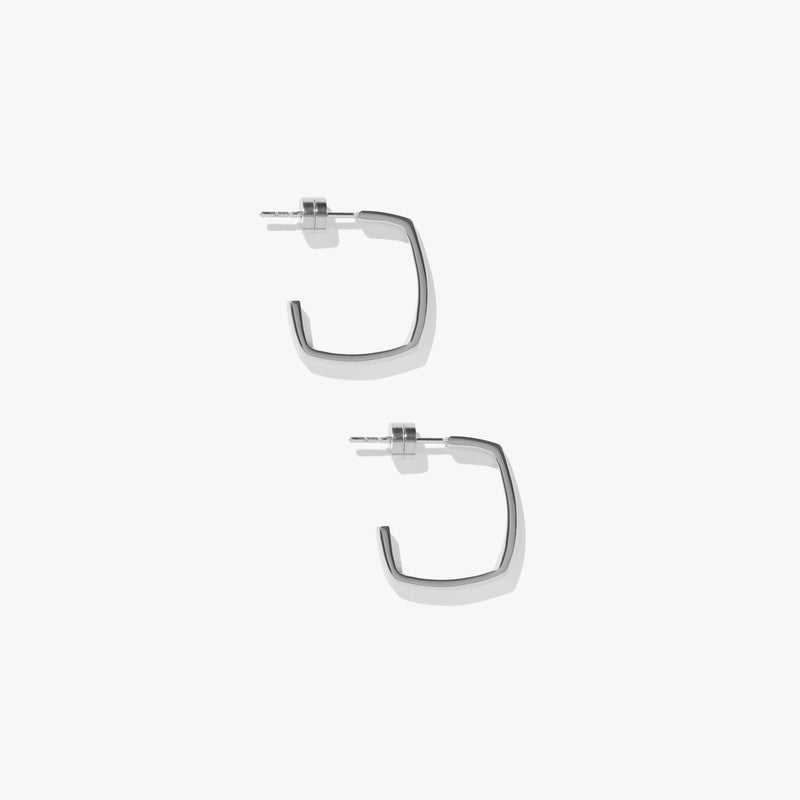 Earrings - Shapeshift Square Hoops - Silver