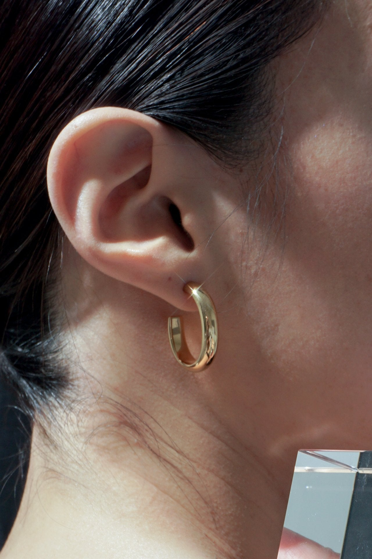 Earrings - Timebend Oval Hoops - Gold