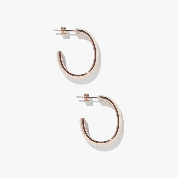 Timebend Oval Hoops - Rose Gold