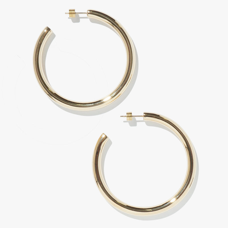 Earrings - Timetravel Chunky Hoops - L -Gold