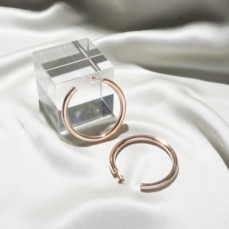 Earrings - Timetravel Chunky Hoops - L - Rose Gold