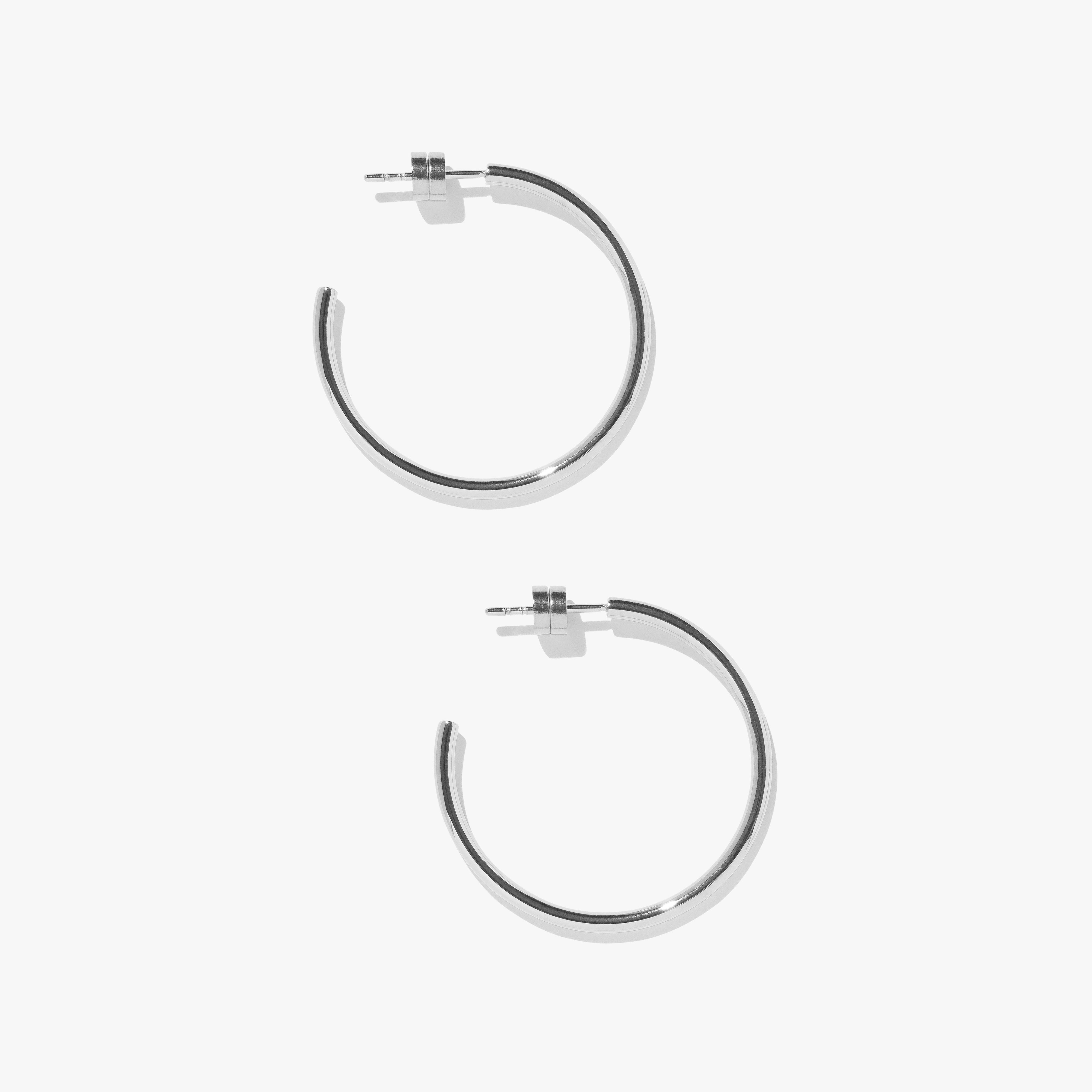 Earrings - Timetravel Skinny Hoops - M - Silver