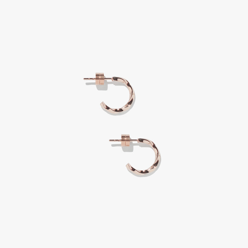 Earrings - Vortex Mini Twist Hoops - Rose Gold