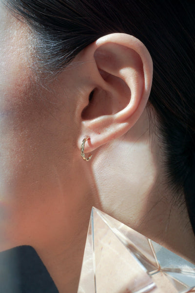 Vortex Mini Twist Hoops - Rose Gold