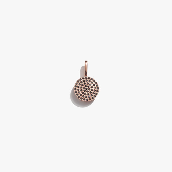 Pendant - Black Diamante Circle Pendant - Rose Gold