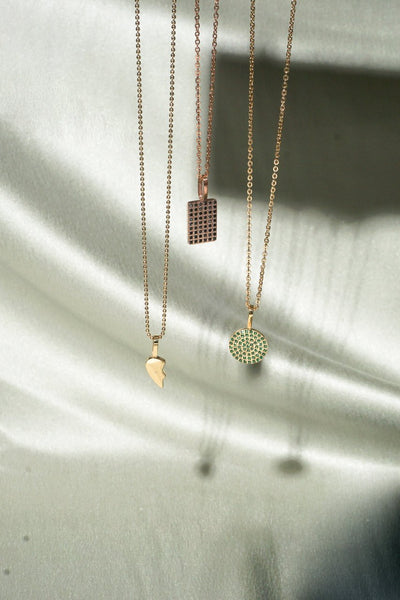 Black Diamante Rec Pendant - Rose Gold